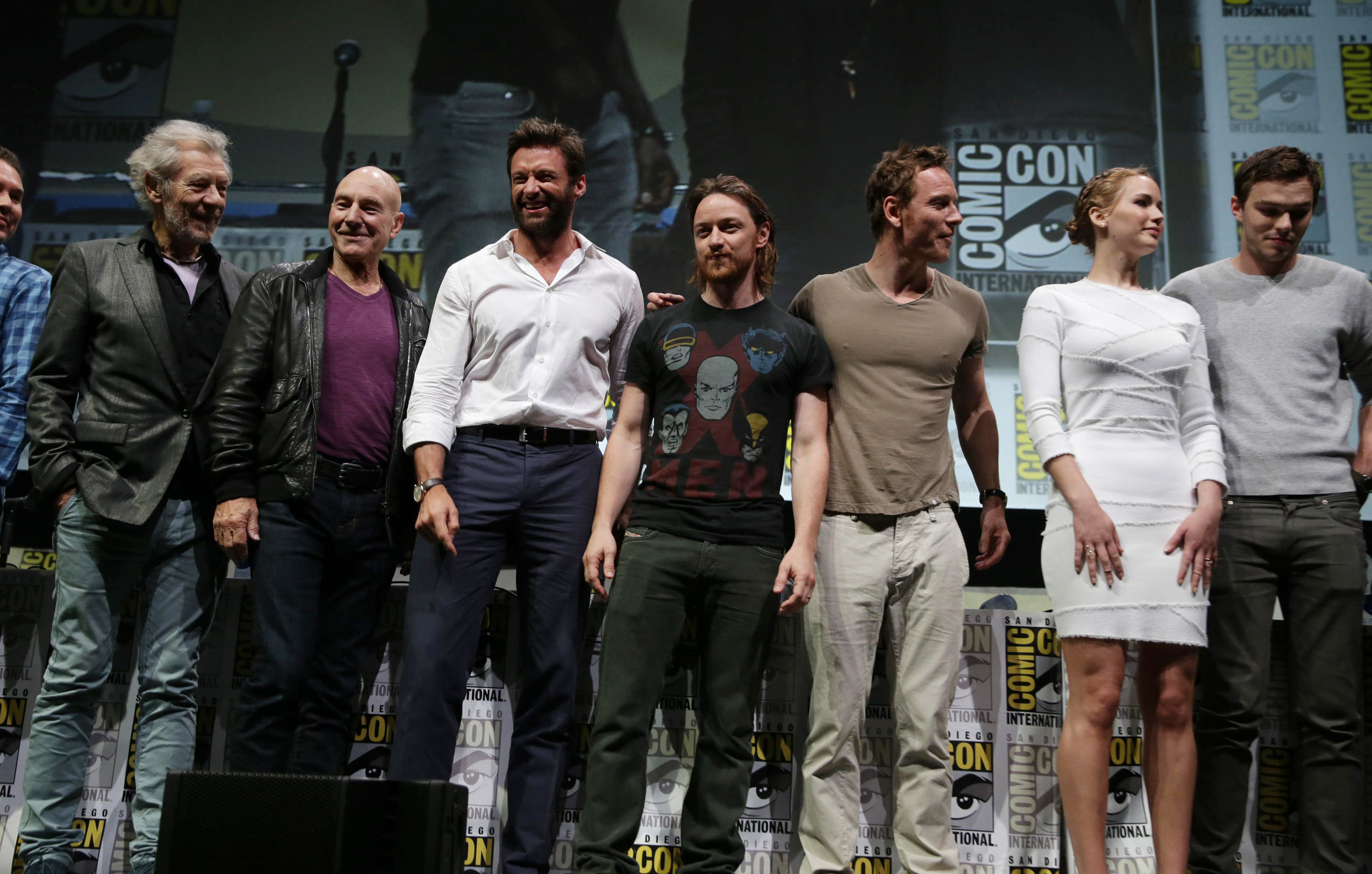 Ian McKellen, Patrick Stewart, Hugh Jackman, James McAvoy, Michael Fassbender, Jennifer Lawrence, Nicholas Hoult